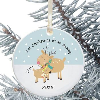 1st Christmas as an Aunty/Uncle Ceramic Keepsake Decoration - Reindeer Design